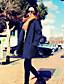 Polyester Blå Medium / Tykk Langermet,Skjortekrage Frakk Ensfarget Vintage / Sofistikert Ut på byen / Party/Cocktail-Vår / Vinter Dame