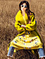 Damen Solide Einfach Lässig/Alltäglich Mantel,Winter Gekerbtes Revers Langarm Gelb Wolle Polyester