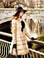 Damen Daunen Mantel,Lang Niedlich Street Schick Anspruchsvoll Ausgehen Lässig/Alltäglich Urlaub Solide-Nylon Königskaninchen-PelzWeiße