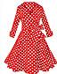 Damen Swing Kleid-Lässig/Alltäglich Einfach Solide Druck V-Ausschnitt Knielang ½ Länge Ärmel Rot Weiß Schwarz Polyester Elasthan Sommer