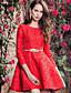 Damen Spitze Kleid-Lässig/Alltäglich Einfach Solide Rundhalsausschnitt Übers Knie ¾-Arm Rot Polyester Frühling Mittlere Hüfthöhe