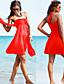 Sukienka plażowa - Obuwie damskie - Wysoki stan/Falbany/Jendolity kolor/Bandage - Bez fiszbin/Biustonosz z wkładkami - Bandeau - Poliester