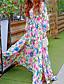 Robe Aux femmes Gaine / Swing Bohème,Fleur Col en V Maxi Soie / Polyester