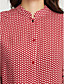 여성의 프린트 스탠드 긴 소매 셔츠,심플 / 스트리트 쉬크 캐쥬얼/데일리 레드 면 / 폴리에스테르 사계절 얇음