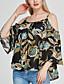 Dámské Tisk Jdeme ven Běžné/Denní Velké velikosti Sexy Vintage Cikánský Tričko-Jaro Podzim Polyester Ramínka Tříčtvrteční rukáv Střední