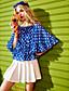 Naiset Puolihiha Pyöreä kaula-aukko Polyesteri Yksinkertainen Päivittäin Kausaliteetti T-paita,Täpläkuvio