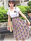 Damen Blumen Einfach Lässig/Alltäglich T-Shirt-Ärmel Rock Anzüge,Rundhalsausschnitt Sommer Kurzarm