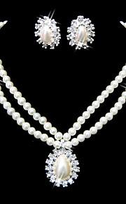 mooie heldere kristallen en onechte parels sieraden set, inclusief ketting en oorbellen