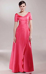 A-line Plus Size / Petite Mother of the Bride Dress Floor-length Short Sleeve Satin with Beading / Ruching / Split Front