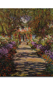 peints à la main dans la voie jardin de Monet à Giverny peinture à l'huile de Claude Monet avec cadre tendu