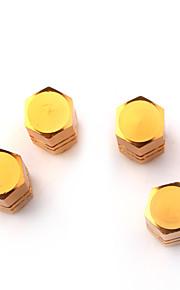 válvulas de los neumáticos de lujo tapas / tallos de oro para el coche (4 piezas por paquete)