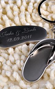 Roestvrij Staal Keychain Favors-6 Stuk / Set Sleutelhangers Strand Thema Gepersonaliseerd Zilver