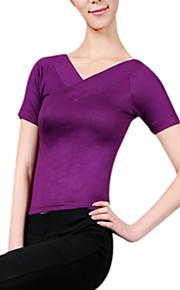 Tops Women's Rayon Fuchsia Yoga / Jazz Spring / Summer / Fall Short Sleeve