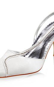 topkwaliteit satijn bovenste hoge hakken gesloten tenen met strass huwelijk bruids schoenen