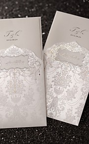 huwelijksuitnodiging vorstelijke luxe gevouwen in ivoor (set van 50)