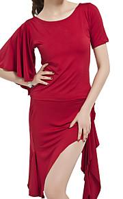 Latin dans Outfits Dames Opleiding Polyester Roesjes Zwart / Rood Latin Dans Lente, Herfst, Winter, Zomer Halve mouw Natuurlijk