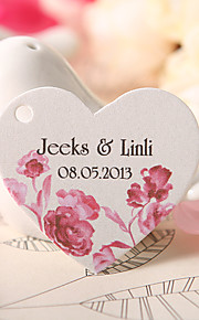 Personalized Heart Shaped Favor Tag - Red Rose (Set of 60)