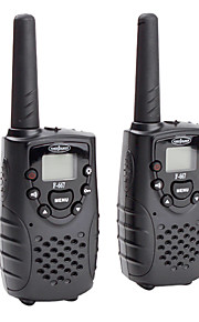 premium 22-kanals GMRS FRS walkie talkie (5 km interval, 2-pak, sort)