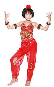 dancewear chiffon met beading / munten prestaties buikdans outfit voor kinderen meer kleuren