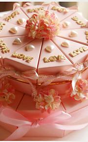 carte rose boîtes en papier de mariage favorisent les belles fleurs (jeu de 20)
