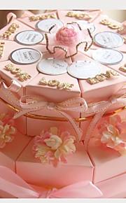 carte rose boîtes en papier de mariage faveur avec des rubans et des fleurs (jeu de 20)