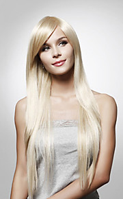Capless lange rechte hoge kwaliteit synthetisch haar pruik meerdere kleuren verkrijgbaar