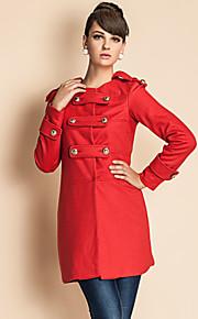 Damen Solide Mantel Langarm Dick Wolle / Polyester
