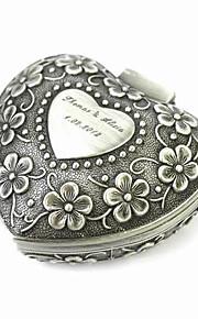 boîte à bijoux personnalisés élégants en forme de coeur décoratifs femmes motifs alliage d'étain