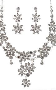 flower dames sieraden set inclusief ketting en oorbellen
