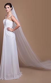 Voiles de Mariée Deux couches Voiles cathédrale Bord coupé 129,92 à (330cm) Tulle Blanc Blanc / IvoireA-ligne, Robe de bal, Princesse,