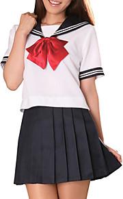sexy fajne atrament niebieski i biały szkolny mundurek poliester (2 szt.)