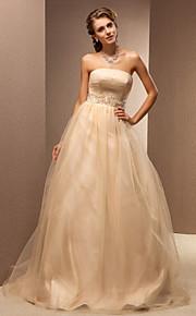 Lanting une ligne tailles plus robe de mariée - champagne balayage / pinceau train bustier en tulle