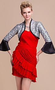 elegante lange mouwen satijn met pailletten bruiloft / speciale gelegenheid 's avonds jas / wrap bolero schouderophalen