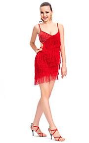 prestaties dancewear polyester met kwastjes latin dans jurk voor dames meer kleuren