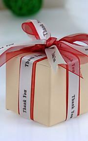 """vierkante ivoor voor vakje met een """"dank u"""" lint (set van 12)"""