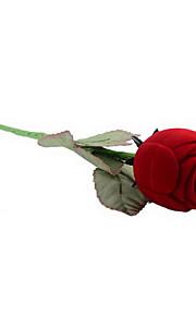 Textile fait de longs Rose en forme de boîte à bijoux rouge