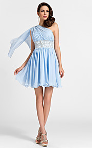 Lanting Short/Mini Chiffon Bridesmaid Dress - Sky Blue Plus Sizes / Petite A-line / Princess One Shoulder