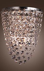 1w lumière murale inox plaque d'acier avec abat-jour en cristal gouttes