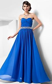 Robe - Bleu royal Soirée formelle/Bal de finissants/Bal militaire A-line/Princesse Col en cœur/Sans bretelles Longueur ras du sol