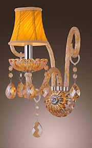 Artisitc Vegglampe med Fabric Shade Amber Crystal lysekrone Feature Glass Horn