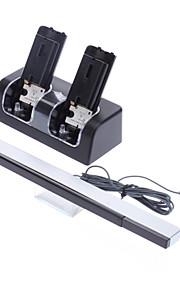 Oplaadbare batterij Stand voor de Wii + 2 x 2800mAh oplaadbare batterijen + kabel Infrarood Sensor Bar voor de Wii (Black)