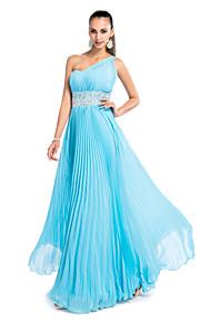 Robe - Bleu Soirée formelle/Bal de finissants/Bal militaire/Fête de mariage Fourreau Épaule asymétrique Longueur ras du solMousseline
