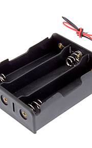 "Plastic Batteri Opbevaring Box Case Holder til 3x18650 Sort med 6 ""Wire Leads"