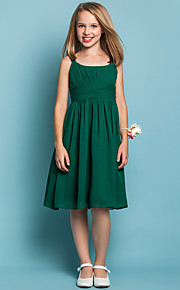 Knee-length Chiffon Junior Bridesmaid Dress - Dark Green Sheath/Column Scoop/Straps