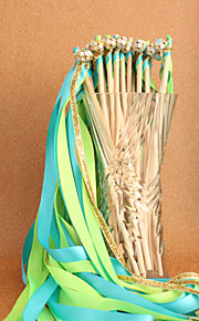Green&Blue&Gold Wedding Ribbon Wan--(Set of 10)
