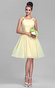 Lanting Bride Knee-length Chiffon / Stretch Satin Bridesmaid Dress A-line Straps Plus Size / Petite with Draping / Ruching