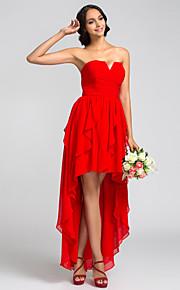 Lanting Bridesmaid Dress Asymmetrical Georgette A Line Notched Dress