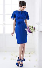 Knee-length Chiffon Bridesmaid Dress - Royal Blue Plus Sizes Sheath/Column Jewel