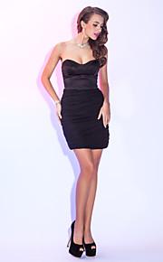 Cocktail Party/Holiday Dress - Black Plus Sizes Sheath/Column Sweetheart Short/Mini Chiffon/Satin