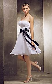 Lanting Knee-length Chiffon Bridesmaid Dress - White Plus Sizes / Petite A-line Strapless